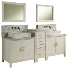 White Bathroom Vanity With Carrera Marble Top by Horizon 84