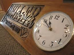 Personalized Anniversary Clock Personalized Wedding Gift Family Name Signs Carved Custom Wooden