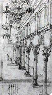 design for the nave of a church with ornamental columns by