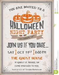scary halloween party invitations halloween night party invitation with scary pumpkins design stock