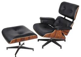 Office Chaise Lounge Chair Aniline Leather Lounge Chair And Ottoman 2 Piece Set Midcentury