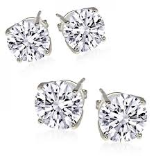 black friday earring amazon deals 2 pair sterling silver round cubic zirconia stud earrings dailysale