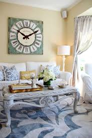 living room with vintage wall clock using a clock for wall in