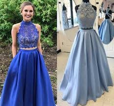 cheap royal blue two piece prom dresses high neck sleeveless lace