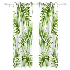 White Curtains With Green Leaves by Aliexpress Com Buy Tropical Leaves Curtains Drapes Panels