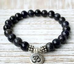 black onyx charm bracelet images Black onyx om charm bracelet strength bracelet energy bracelet jpg