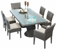 tk classic cape cod 7 piece wicker patio dining set beige