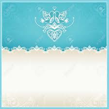 Royal Blue Wedding Invitation Cards Blue Wedding Invitation Design Template With Doves Hearts