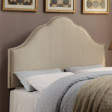 King Fabric Headboard Pri Glam King Fabric Upholstered Nailhead Headboard In Oatmeal
