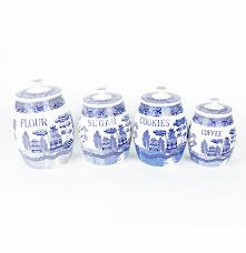 Kitchen Canisters Blue by Vintage 1940s Blue Willow Creative Imports Japan Kitchen Canisters