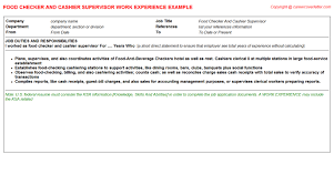 Job Description Cashier Resume by Vault Cashier Cv Work Experience Samples