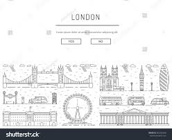 historical modern symbols london british culture stock vector