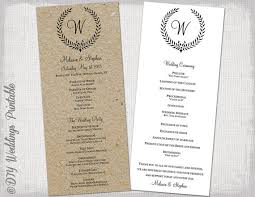 wedding ceremony program wedding program template rustic black leaf garland