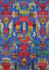 Sari Silk Rugs by Rugsville Ethos Sari Silk Blue Multi 13849 Rug Rugsville Co Uk