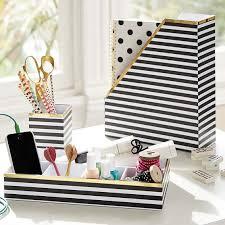Desks Accessories Printed Desk Accessories Black White Stripe With Gold Trim Pbteen