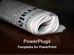 powerpoint template a folded newspaper with its reflection in the