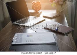 Business Computer Desk Business Computer Office Desk Desktop Laptopnotebookclockpen Stock