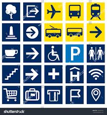 Map Symbols 25 Wayfinding Vector Pictograms Arrows Transport Stock Vector