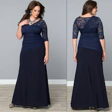 evening gowns for fat women 2017 half sleeves long dark navy plus
