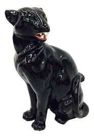 vintage black ceramic panther chairish