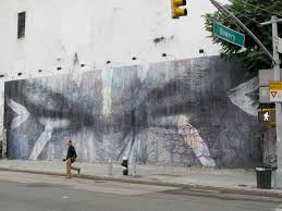 mother nature tags jr mural at graffiti wall bowery boogie and we were just commenting to ourselves that this latest wheat paste mural has remained largely intact since its inception at the end of june