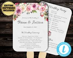 diy wedding program fan template wedding program fan template floral program fan printable