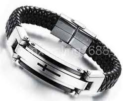 leather bracelet fashion images Men cross genuine leather bracelet fashion stainless steel male pu jpg