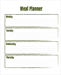 printable blank meal planner 20 meal planner sles templates psd excel pdf word
