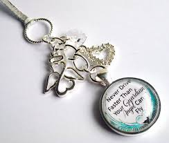 Personalized Rear View Mirror Charms Guardian Angel Car Mirror Charm Never Drive Faster Than Your
