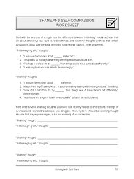 Questions About Thanksgiving Shame U0026 Self Compassion Worksheet