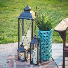 smart design metal lanterns with led candles set of 3 hayneedle