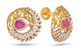 kerala style jhumka earrings jos alukkas jewellery alukkas jewellery alukkas gold