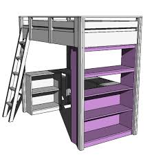 ana white what goes under the loft bed how about a big bookcase