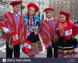 uk four in traditional peruvian costume