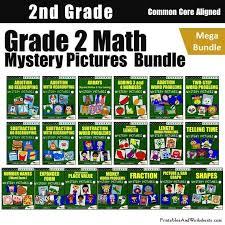 2nd grade math mystery pictures coloring worksheets mega bundle