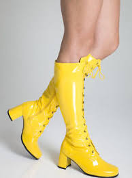yellow boots s yellow boots womens retro gogo knee high lace up boots size 9