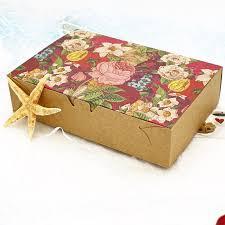 printed gift boxes 20pcs vintage floral printed baking food kraft paper boxes