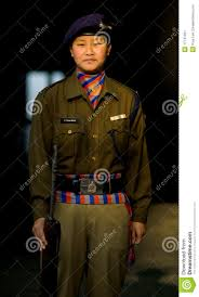 female indian police woman nepali uniform editorial photo image
