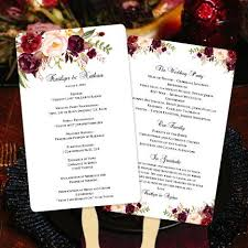 wedding program on a fan wedding program fan blossoms burgundy blush pink