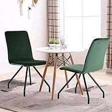 Dining Chairs With Metal Legs Amazon Com Greenforest Dining Chairs Velvet Cusion Wood Transfer