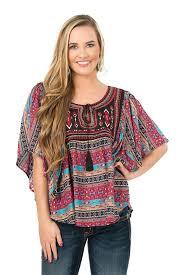panhandle slim aztec pattern butterfly sleeve peasant top