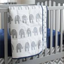 navy and gray elephants 3 piece crib bedding set carousel designs