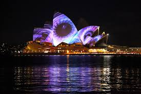 magnificent light projection on the sydney opera house