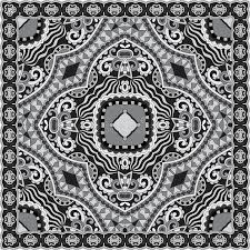 black and white ornamental floral paisley bandanna stock vector