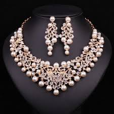 gold plated statement necklace images Fashion pearl statement necklace earrings bridal jewelry sets jpg