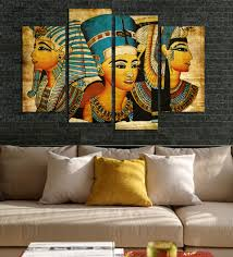 canvas painting for home decoration 4pcs egyptian pharaoh for living room painted modern abstract