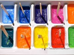 ice cube paint freeze water food color ice trays freeze
