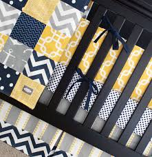 Grey And Yellow Crib Bedding Yellow Navy Bedding Nautical Crib Bedding Yellow And Gray