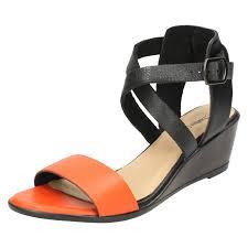 ladies leather collection open toe sandals f10502 orange 4 uk