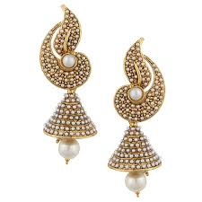 jhumka earrings buy white flower indian pearl jhumka earring jhumki online